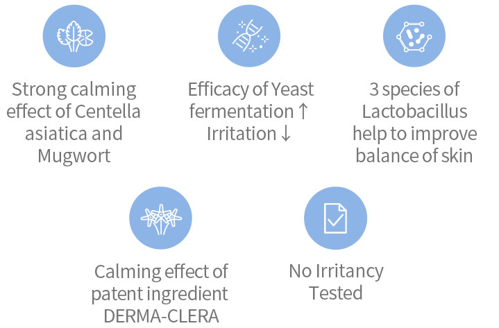 Strong calming effect of Centella asiatica and Mugwort, Efficacy of Yeast fermentation Irritation, 3 species of Lactobacillus help to improve balance of skin, Calming effect of patent ingredient DERMA-CLERA, No Irritancy Tested
