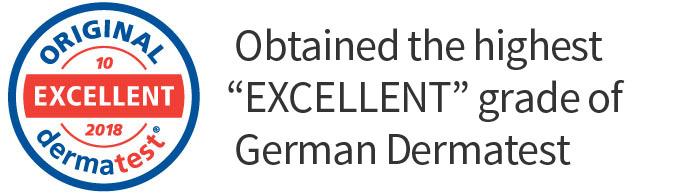 Highest grade of German Dermatest 'EXCELLENT' is btained